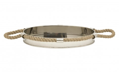 silver, rope, tray, rustic, nautical decor