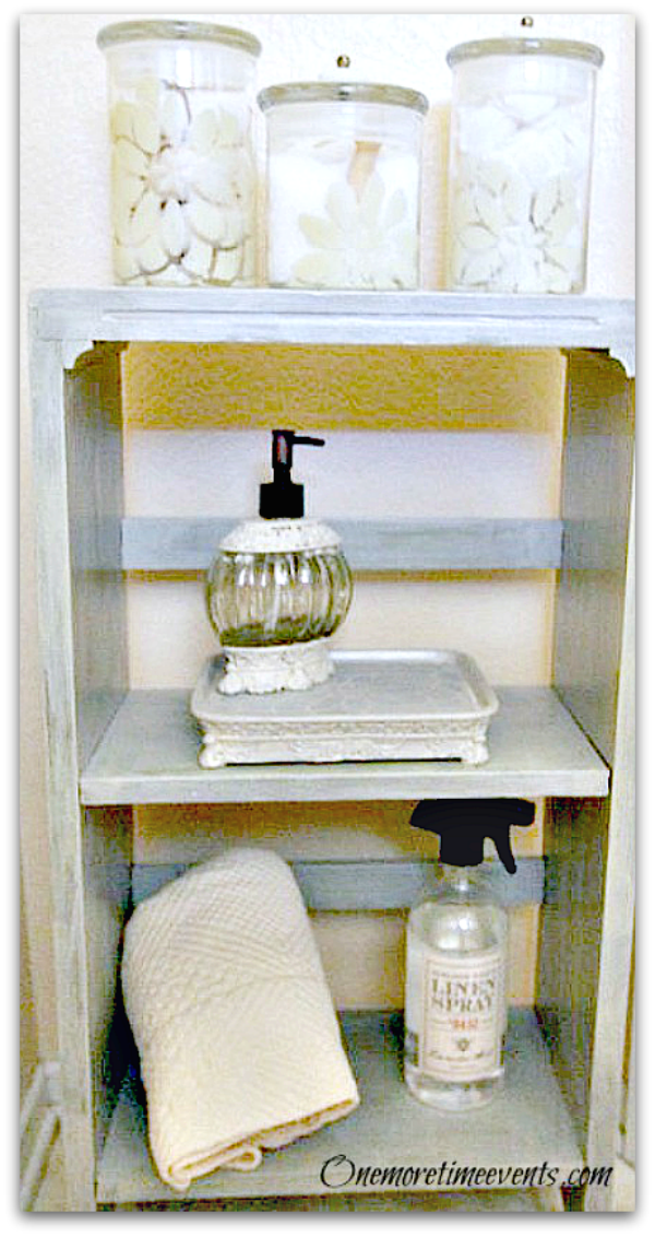 Bathroom Vignette with stenciled items at One More Time Events.com
