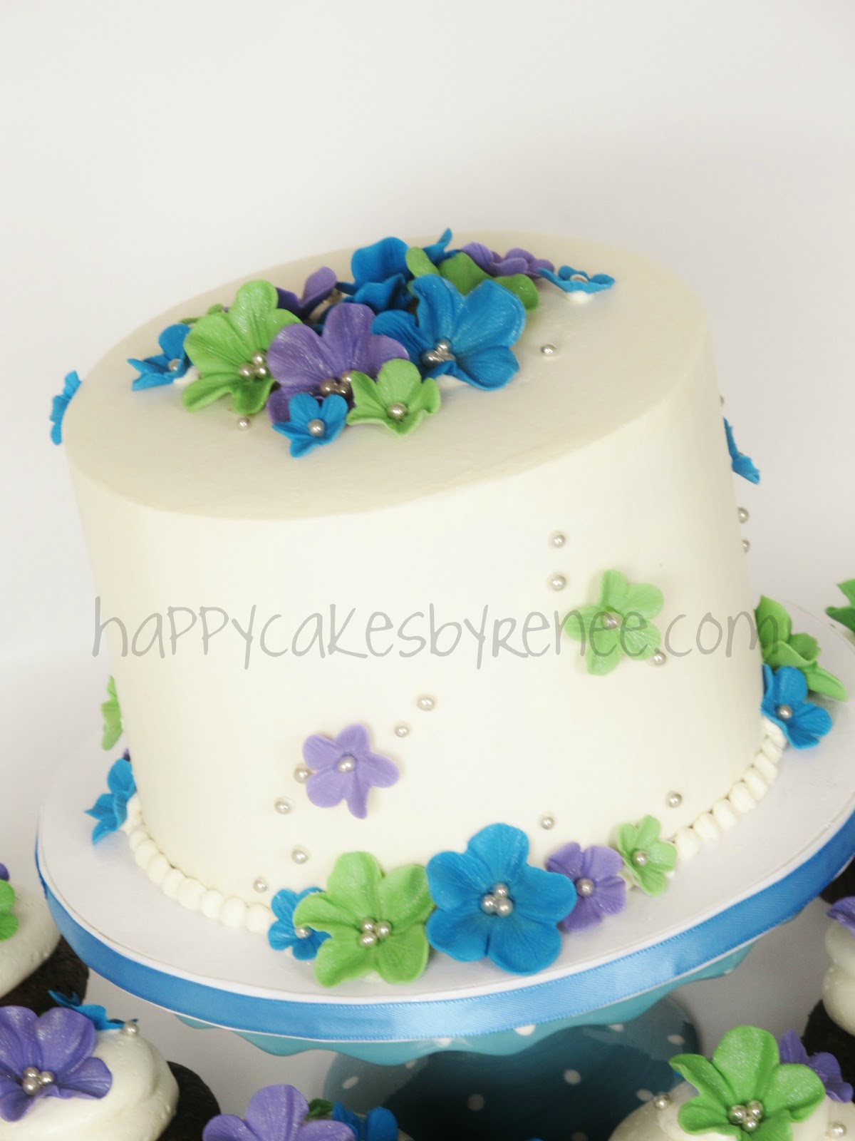 Peacock Colors Blossoms Cake Cupcakes Renee Conner Cake Design