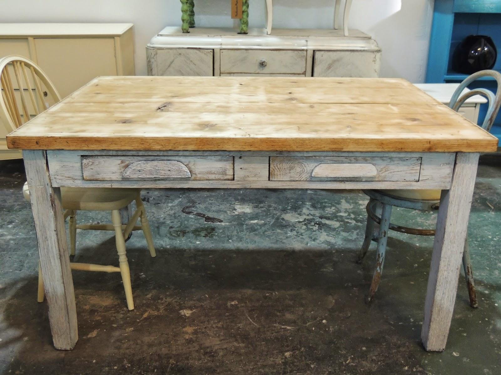 Antigua mesa meson de campo escritorio 2 cajones - Mesas de escritorio antiguas ...