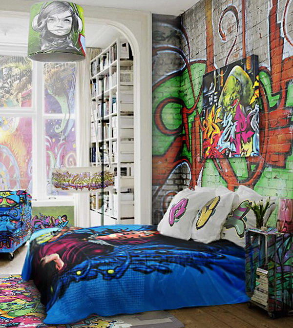 Graffiti bedroom decoration on the wall for Mural art designs for bedroom