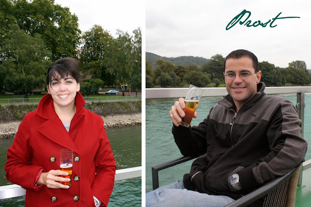 Our final beer on the Rhine ferry boat - The Tipsy Terrier