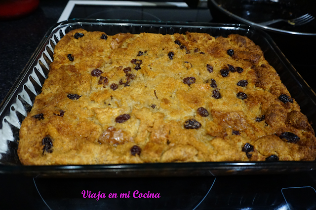 Rum raisun bread Pudding from Belize