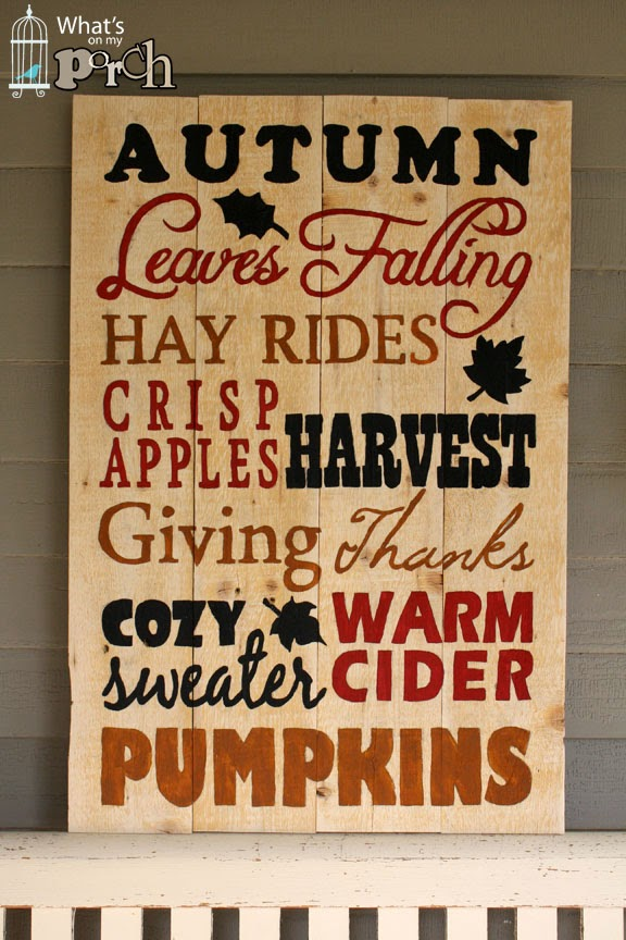 autumn sign by whats on my porch bonus flip it over and hang a christmas wreath for more mileage