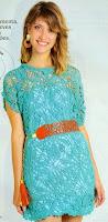 Платье из ажурных квадратов крючком