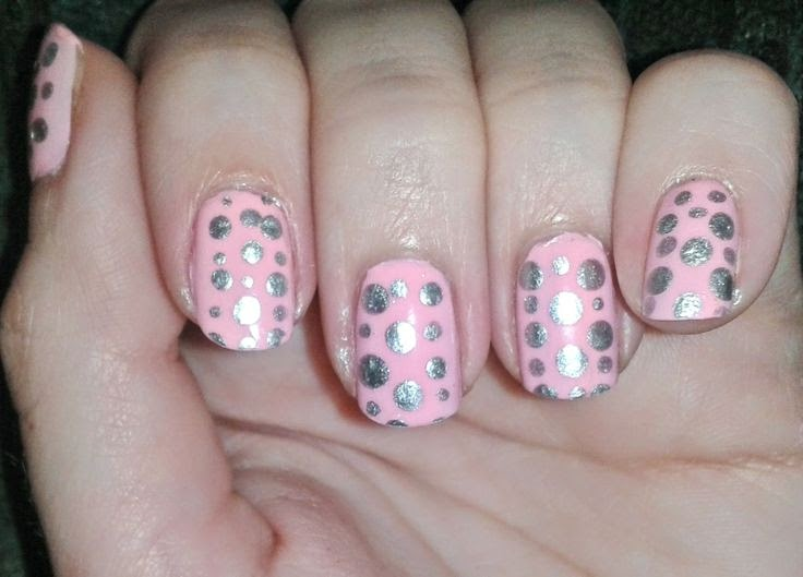 Random Heather: Pink and Silver Polka Dot Nails