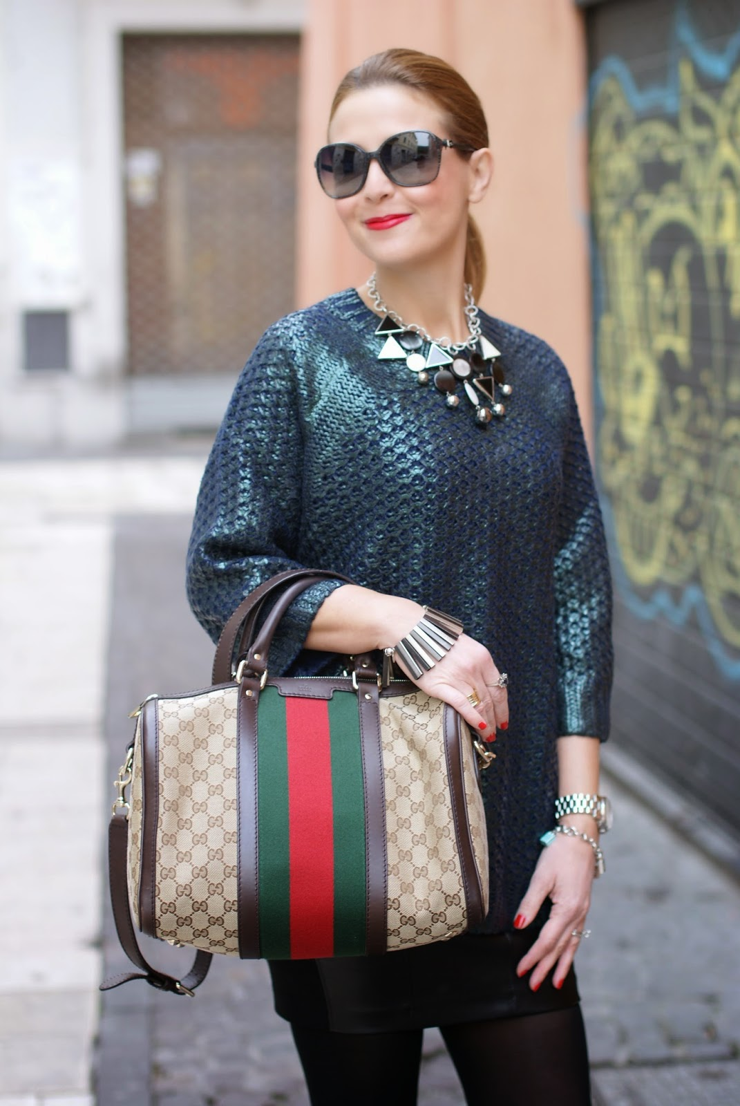 metallic finish jumper worn with leather mini skirt, Vitti Ferria Contin jewelry, H&M pattern knit jumper, Gucci web boston bag, Fashion and Cookies, fashion blogger