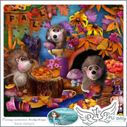 Funny autumn hedgehogs by Kandi Designs
