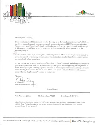 Thank you letter for Pittsburgh Poultry Association's donation