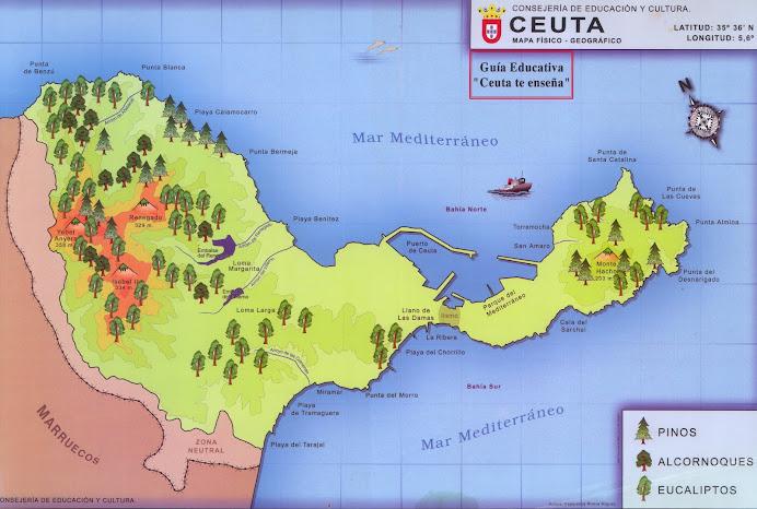 Mapa físico- geográfico de Ceuta.
