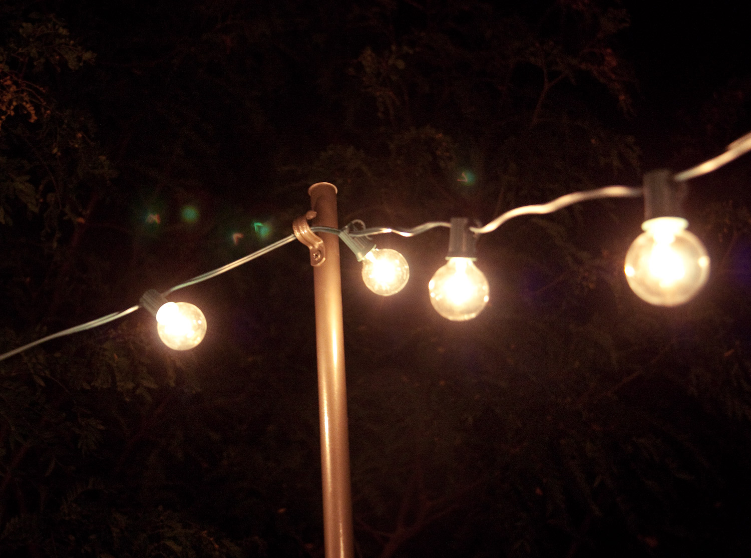Bright july diy outdoor string lights for How to hang string lights without trees