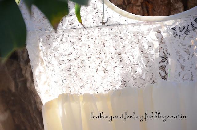lace detail of pretty white dress