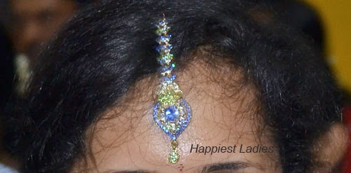 Blue green  stone combined studded Maang Tikka: Indian Jewellery