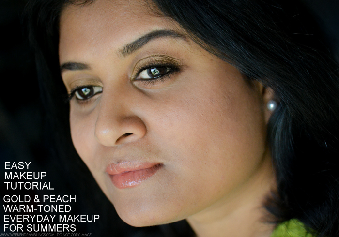 Easy Summer Makeup Tutorial - Gold Peach Warm Tones - Easy Steps How To Guide