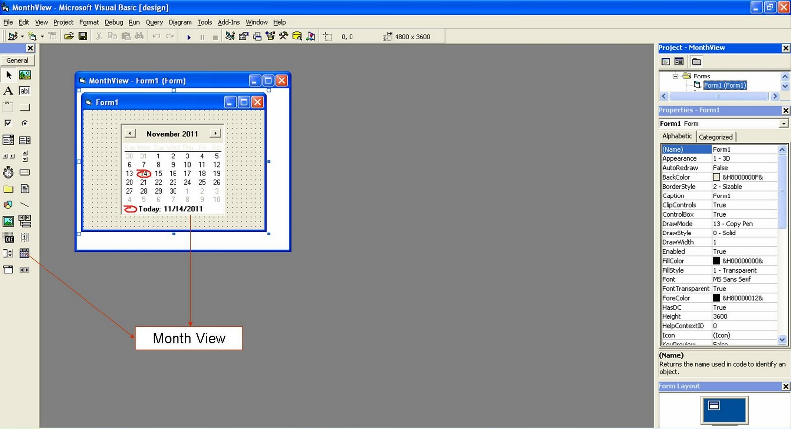 Monthly Calendar Visual Basic : Visual basic tutorials code project for beginners