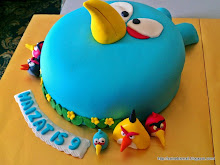 3D Blue Angry Birds Cake