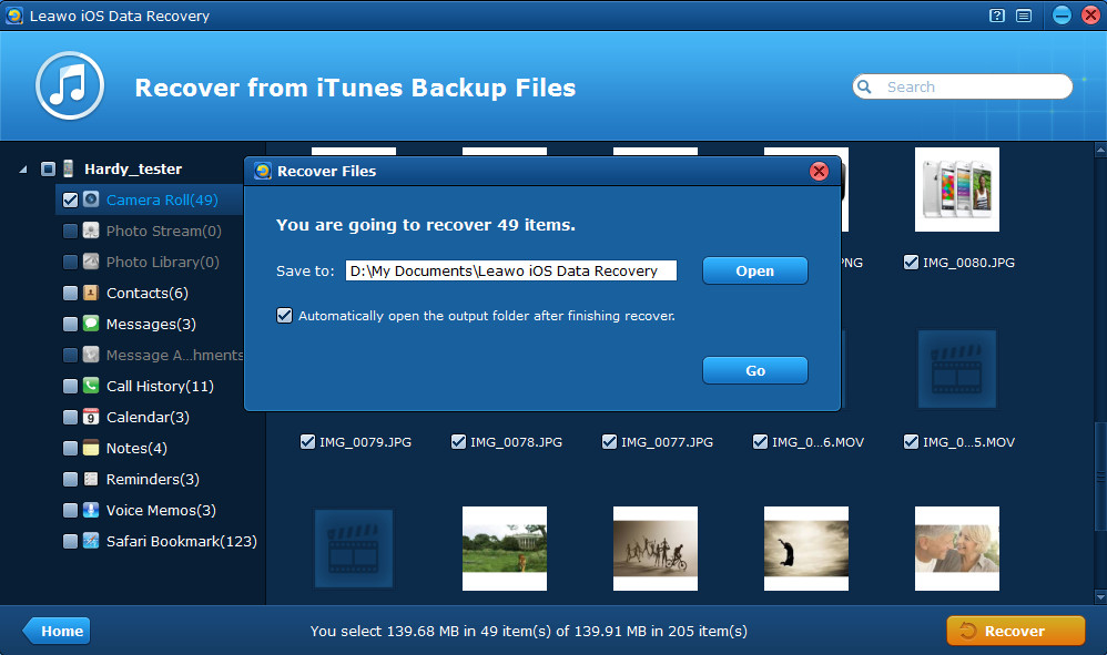 Preview & extract photos from iPhone backup