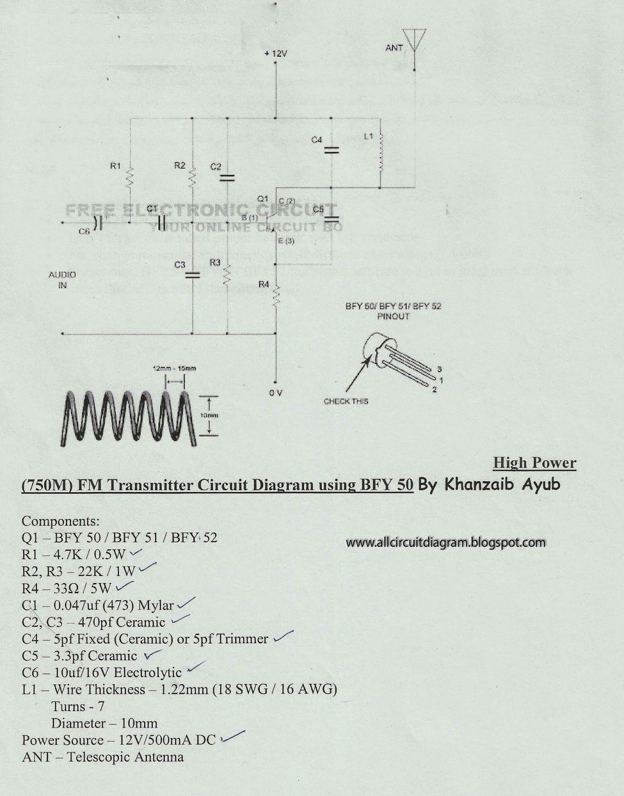750m Fm Transmitter Circuit Diagram Bfy 50 Gallery Of Electronic