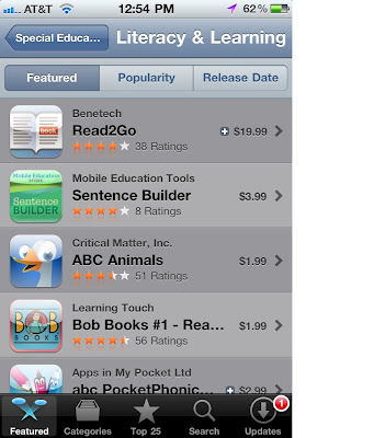 screen shot of an iPhone showing Read2Go as the top featured app in the Literacy and Learning Section, 4 stars with 38 ratings