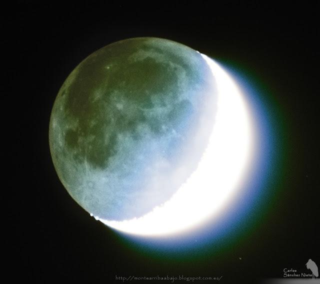 Detalle de la zona en penumbra de la luna