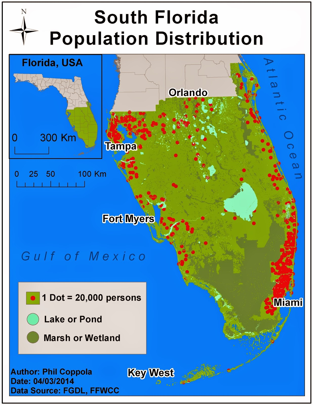 Florida Population Map.Phil S Gis Blog Module 11 Dot Mapping