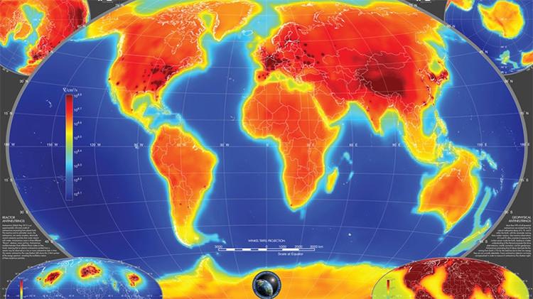 Elaborado mapa de los antineutrinos al interior de la tierra.