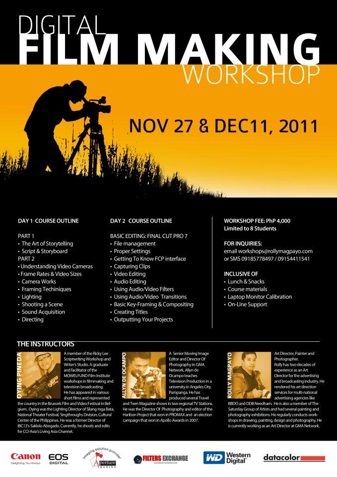 Digital Film Making Workshop Poster Moviola At 29fps