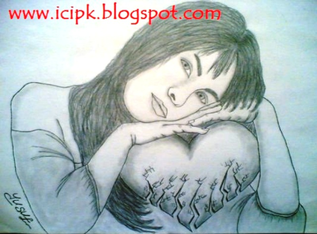 the gallery for gt broken hearted girl drawing