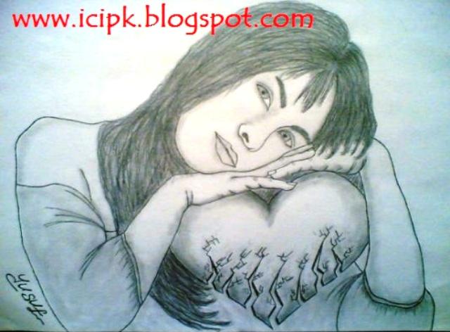 broken heart girl drawing httpicipkblogspotcom