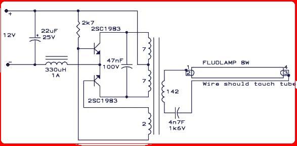Skema Rangkaian Amplifier  Driver Lampu Neon 8 Watt Dan Indikator Led Panggilan Masuk