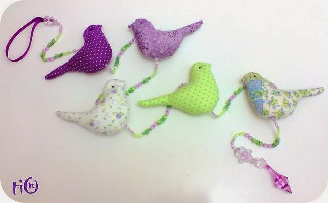 Moldes móbile de passarinhos de tecido