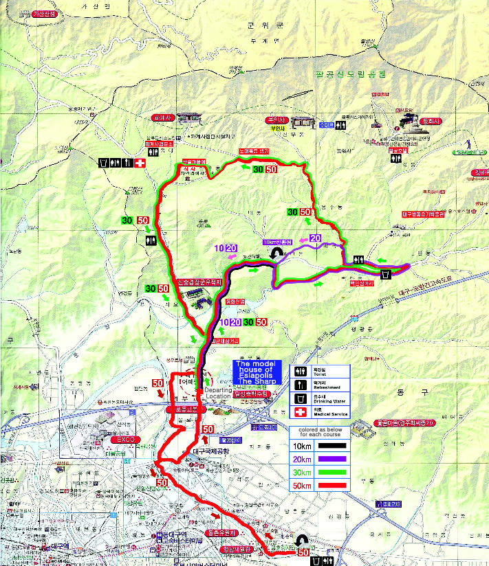 The course map of the Palgoing mountain walkathon in the moonlight