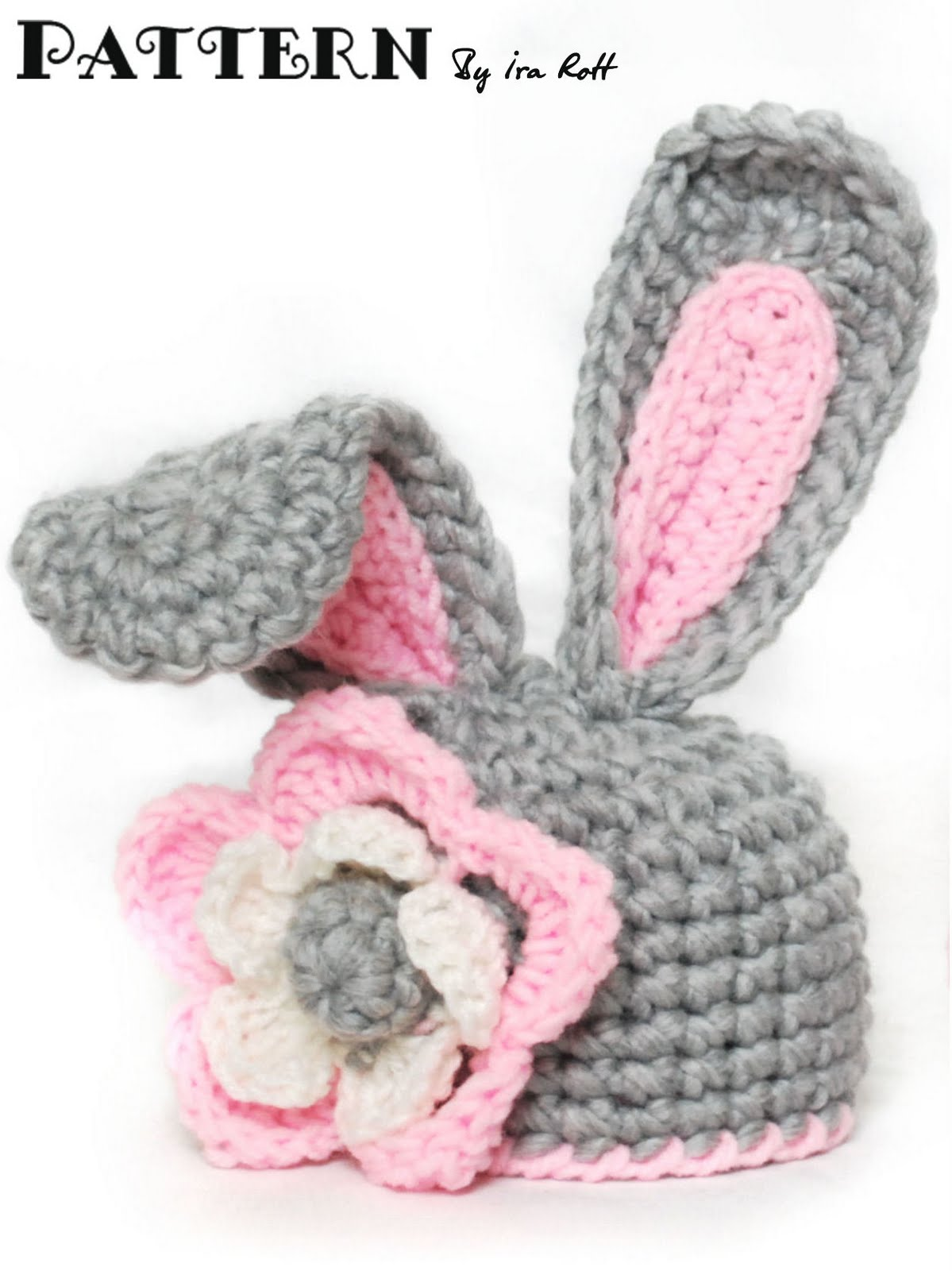 Crochet Bunny Hat With Flower Pattern : Fashion Crochet Design By Ira Rott: Crochet Bunny Hat With ...