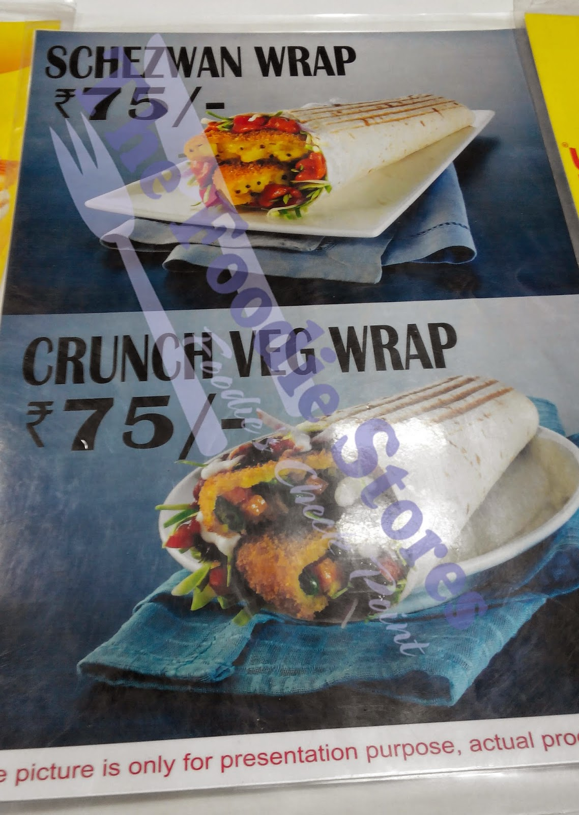 Jumboking Vadapav, wrap menu