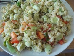 Quinoa, broad bean salad