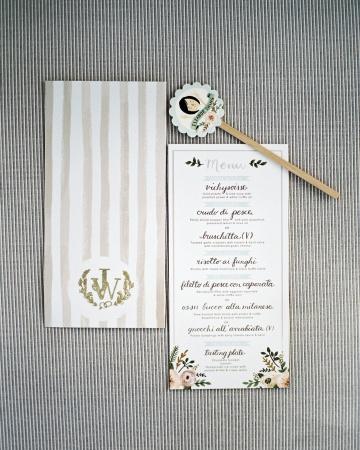 Menú para boda acompaña un palito souvenir