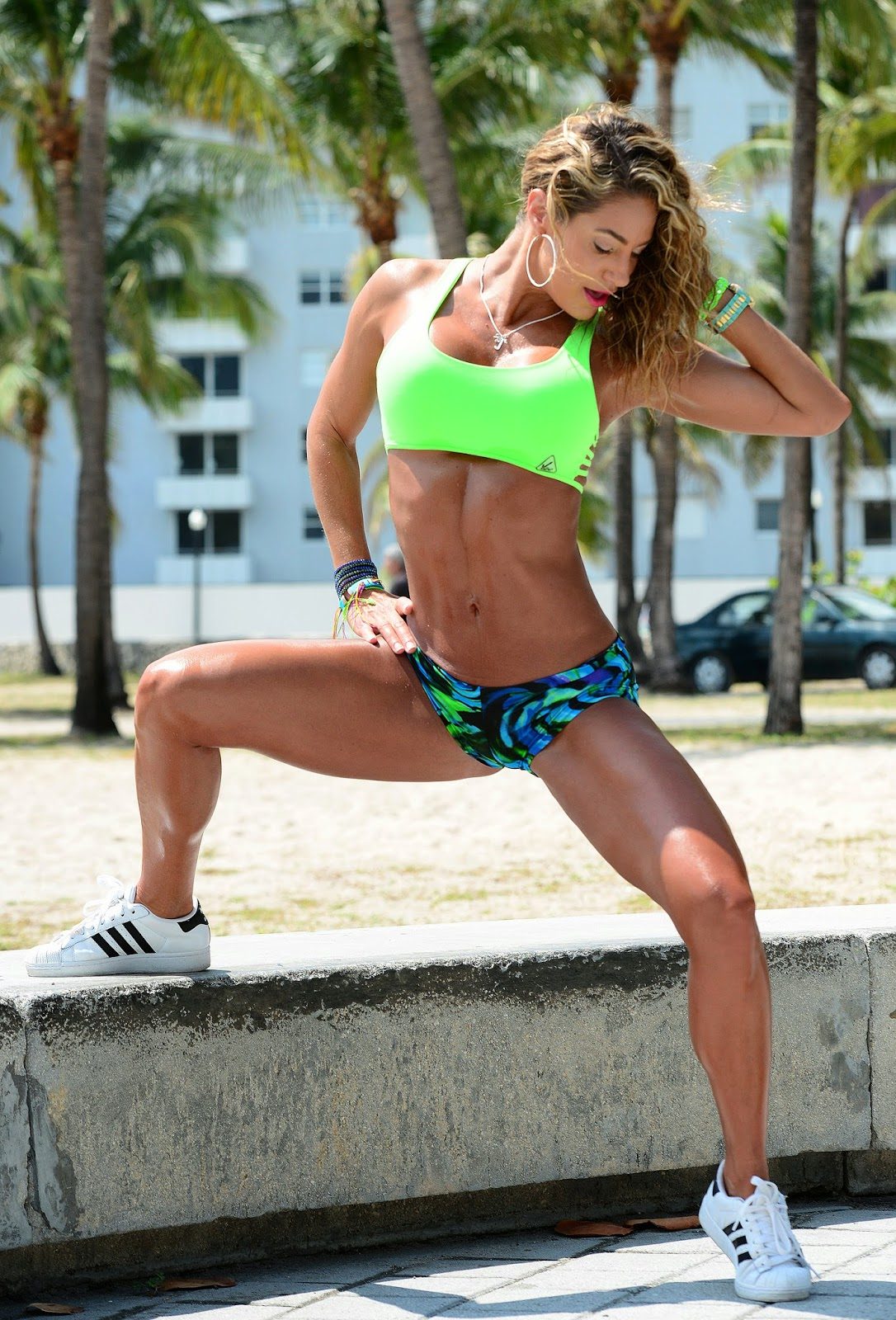 Jennifer Nicole Lee working out at Miami beach