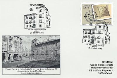 Tarjeta de Grucomi con el matasellos del Palacio de Ferrera
