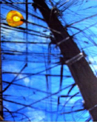 Clameli - Poste preto sobre fundo azul - acrílico s/ tela