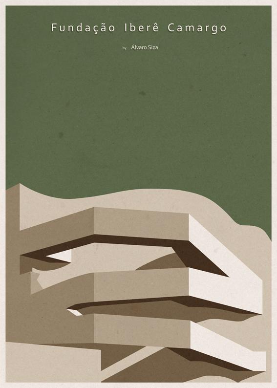 Fundação Iberê Camargo - Alvaro Siza Vieira - Posters de Arquitectura Minimalistas de André Chiote