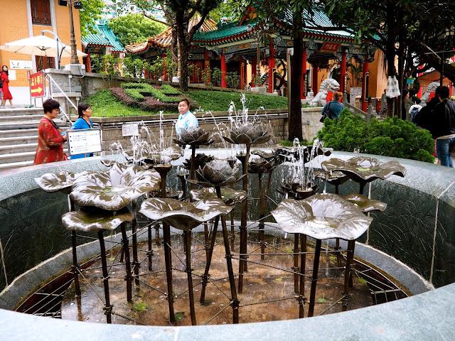 Lotus flower / lily pad metal fountain at Sik Sik Yuen Wong Tai Sin Temple, Hong Kong