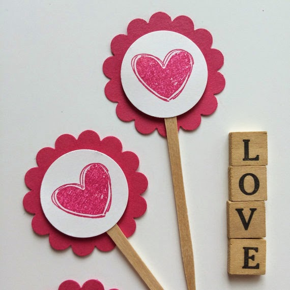Valentine Heart Mini Cupcake Toppers
