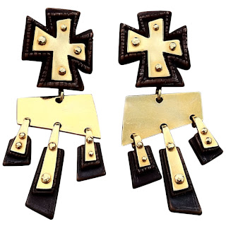 Vintage 1990's black and gold dangling cross earrings by Christian Lacroix.