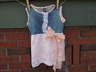 denim and lace upcycled dress