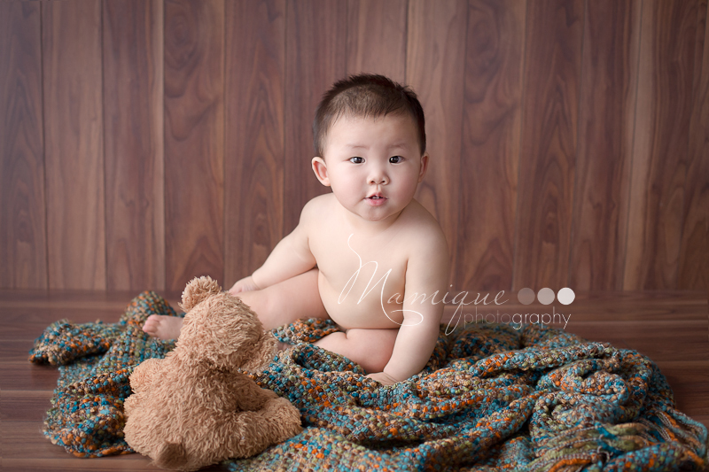 Cute boy with teddybear Vancouver Baby Photographer