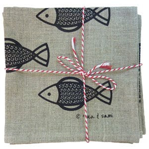 Thea and Sami fish napkins