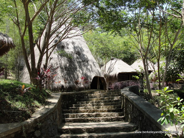 traditional houses at Taman Nusa Indonesian cultural park in Bali