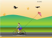 Jogo de empinar pipa andando de bicicleta