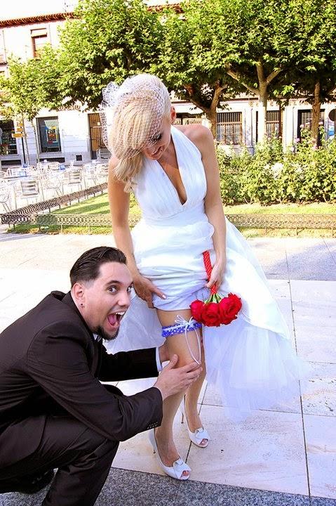 Wedding Garter in Royal Blue & White Polka Dot by Sugarplum Garters