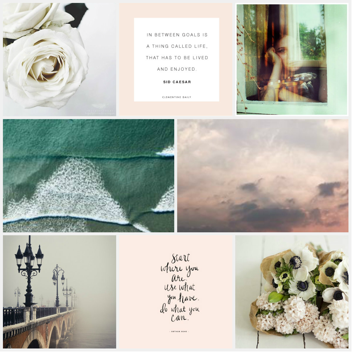 Pinterest, Moodboard, blush pink, green, ocean, waves, sunset, florals, flowers, floral, bloom, lamps, bridge, mist